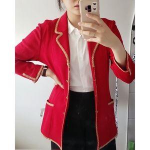 Vintage St. John Red Military Style Cardigan/Coat